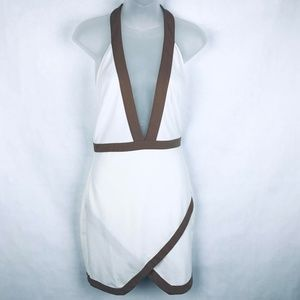 Missguided White Brown Halter Backless Faux Wrap D